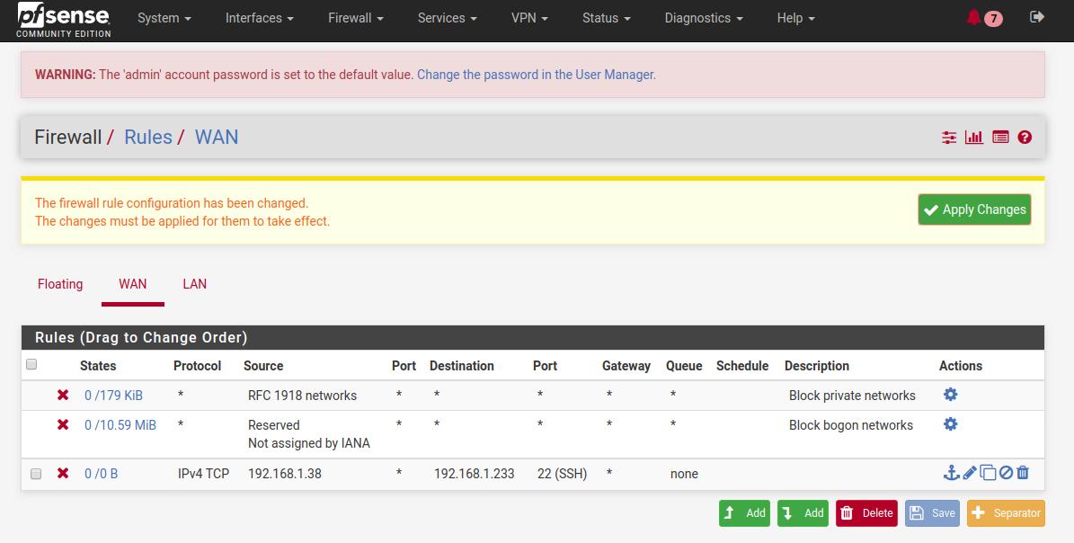 Screenshot of rule added in the firewall